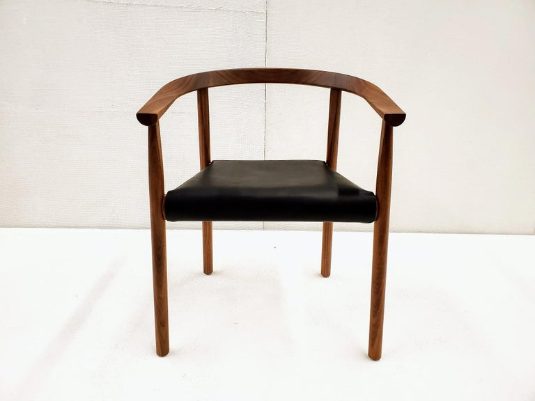 A contemporary blending of traditional Danish and Japanese designs with contemporary woodworking techniques. Tokyo is an active dining chair with beautiful wood and leather detailing. Made of solid wood with a removable saddle leather seat.