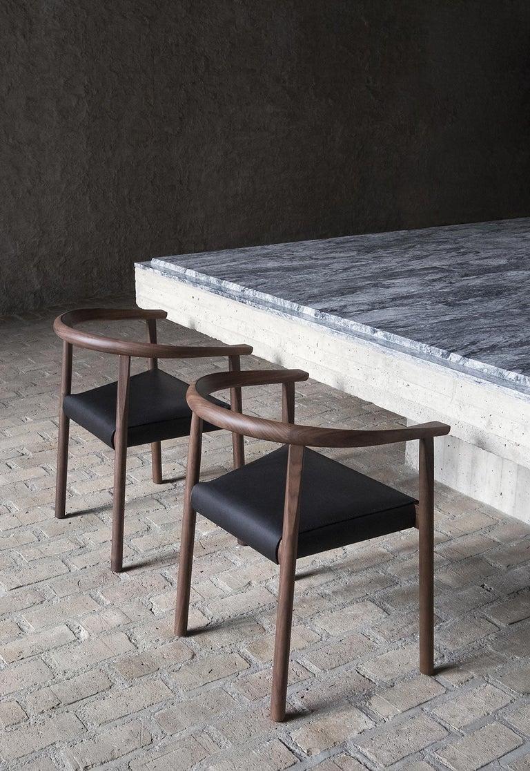 Contemporary BENSEN Tokyo Chair - walnut frame w/ Black leather seat For Sale