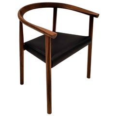 BENSEN Tokyo Chair - walnut frame w/ Black leather seat