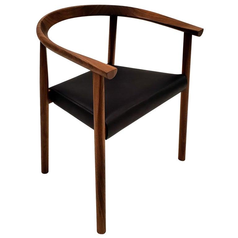 BENSEN Tokyo Chair - walnut frame w/ Black leather seat For Sale