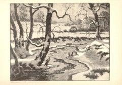 1936 Benson B Moore 'Frozen Streams' Realism Brown Offset Lithograph