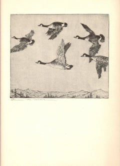 1936 Benson B Moore 'Southbound Geese' Black & White,Brown Offset Lithograph
