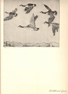 1936 Benson B Moore 'Southbound Geese' Brown,Black & White Offset Lithograph