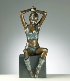 20th Century Solid Bronze, Elegant Ballet Dancer 'Preparation' by Benson Landes