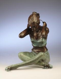 Contemporary Bronze Ballerina Sculpture 'Tying Headband' by Benson Landes