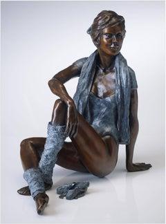 Contemporary Bronze Nude Figurative Ballet Dancer 'Attitude' Blue & Brown