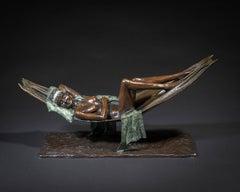 Contemporary Nude Ballet Dancer Bronze Sculpture 'Siesta' by Benson Landes