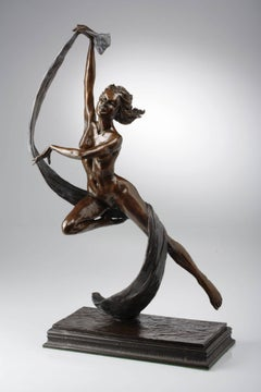 Contemporary Solid Bronze Nude Figurative Sculpture 'Sprite' by Benson Landes
