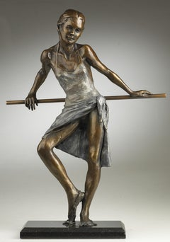 'Dancer Standing Resting en Barre' Contemporary Figurative Bronze of a ballerina