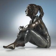 Figurative solid bronze sculpture of ballet dancer 'Dancer Resting' by B Landes