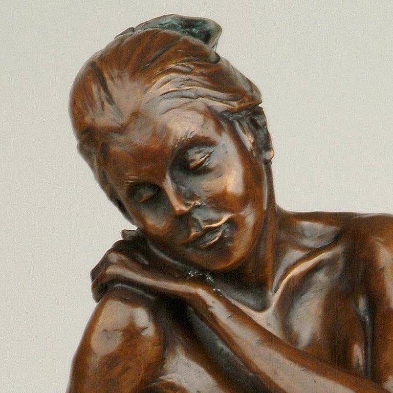 Nude Bronze Figurative Sculpture Ballet Dancer by Benson Landes 'Quiet Elegance' For Sale 1