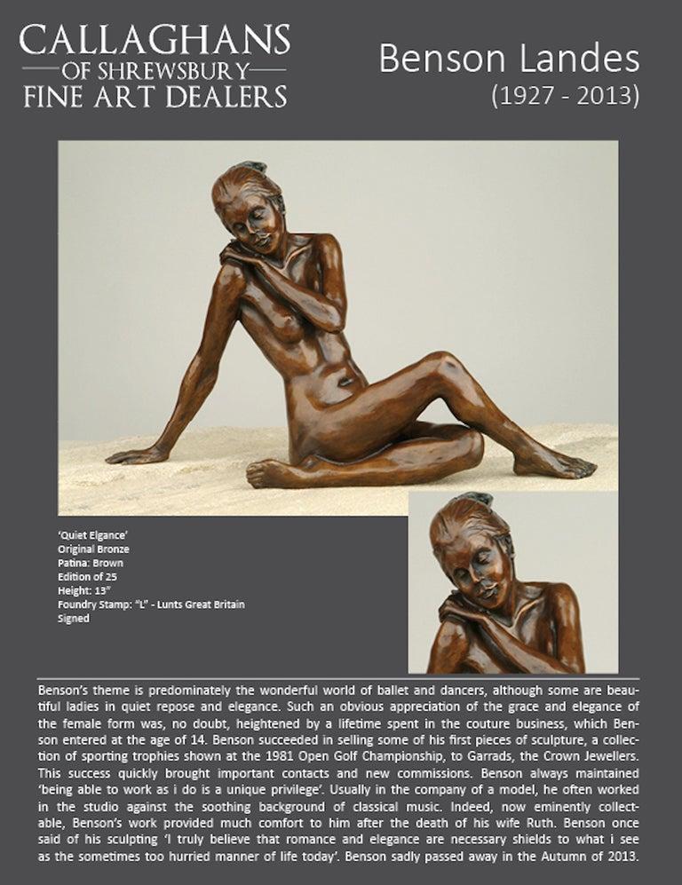 Nude Bronze Figurative Sculpture Ballet Dancer by Benson Landes 'Quiet Elegance' For Sale 4