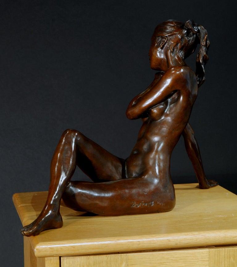 Nude Bronze Figurative Sculpture Ballet Dancer by Benson Landes 'Quiet Elegance' For Sale 6