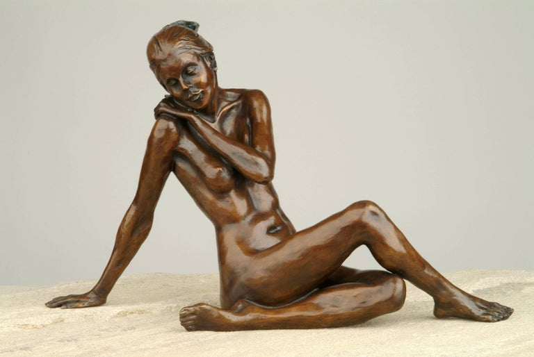 'Quiet Elegance' is a beautiful nude bronze sculpture of ballet dancer by the renowned sculptor Benson Landes.  For Benson Landes, sculpture was most definitely a passion. His oeuvre of cast bronzes is populated with 'off duty' ballet dancers,
