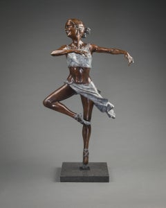 Pirouette. A bronze sculpture of an elegant ballet dancer by Benson Landes