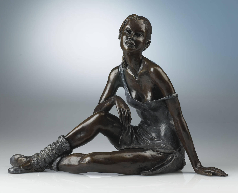 Repose - Bronze Sculpture of an elegant young ballet dancer by Benson Landes
