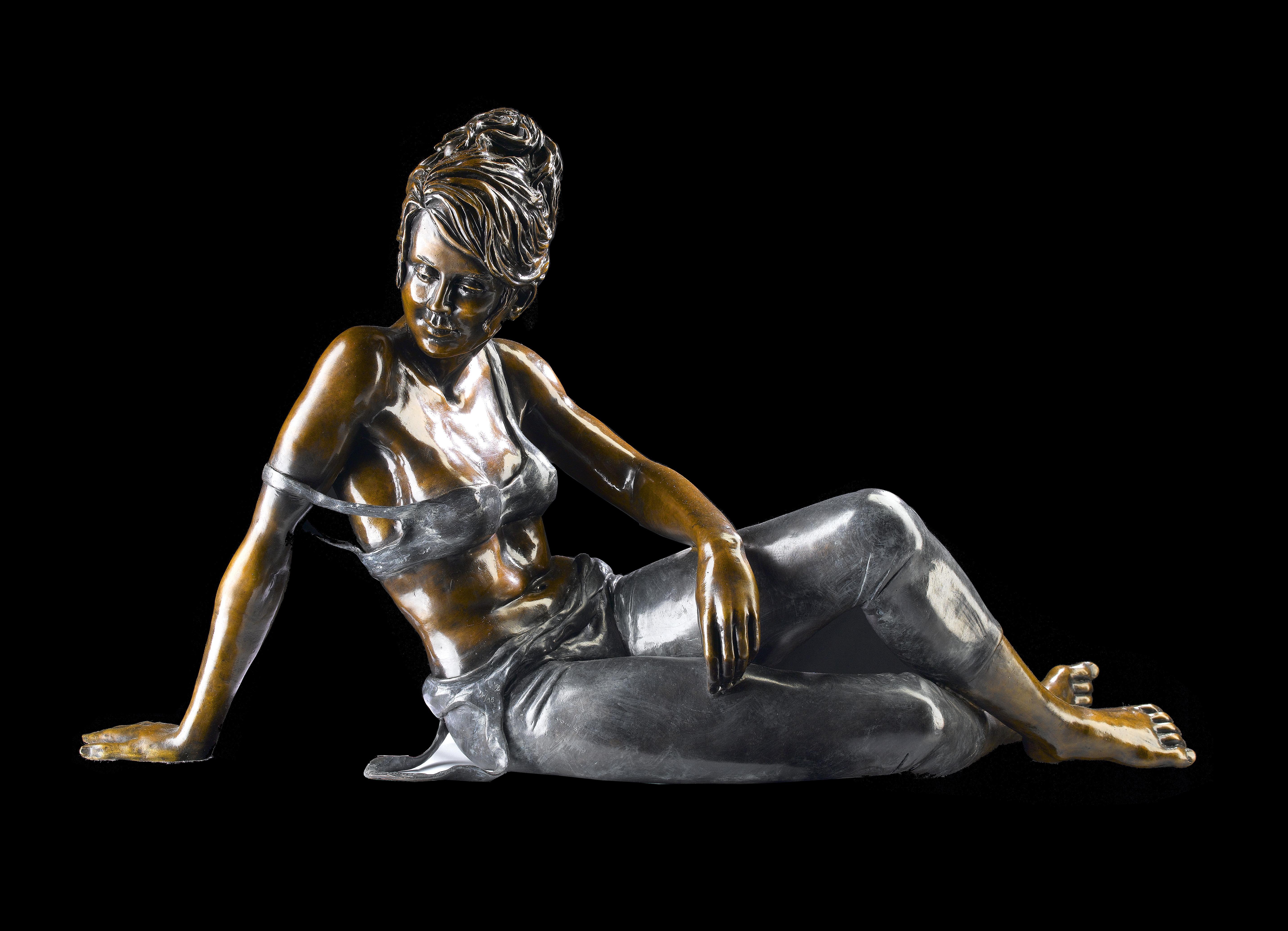 Resting. A bronze sculpture of a resting ballet dancer figure by Benson Landes