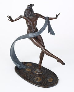 Solid Bronze 20th Century Nude Ballet Dancer 'Stepping Stones' by Benson Landes