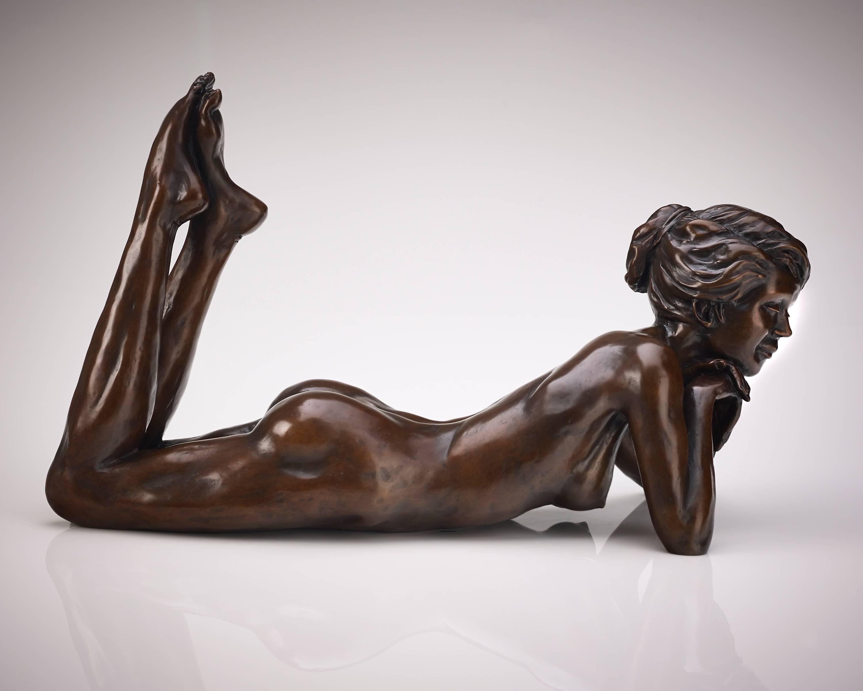 Solid Bronze Ballet Dancer Sculpture 'Meditation' by Benson Landes