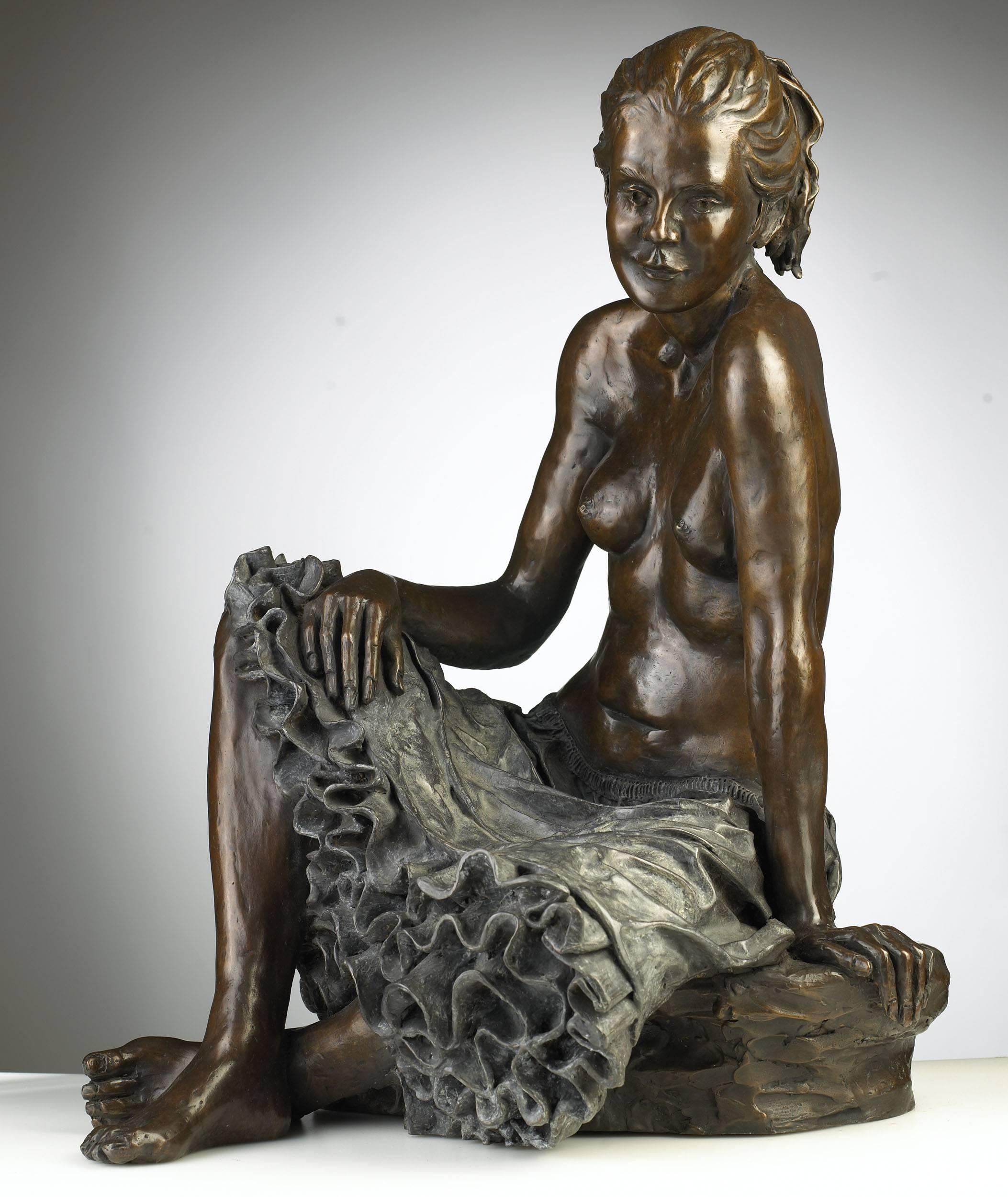 Solid Bronze Figurative Ballet Dancer Sculpture 'Petticoats' by Benson Landes