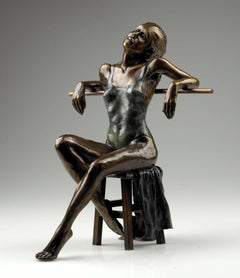 Solid Bronze Figurative Ballet Sculpture 'Dancer Seated Resting en Barre'