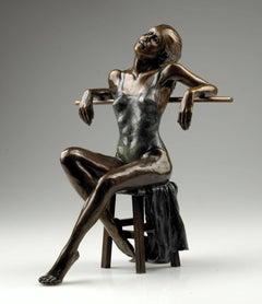 Solid Bronze Figurative Ballet Sculpture 'Dancer Seated Resting en Barre'