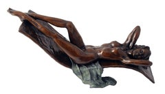 Solid Bronze Nude Figure  Sculpture 'Home Alone' by Benson Landes