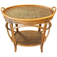 Bent Bamboo and Grasscloth Bar Table with Removable Tray