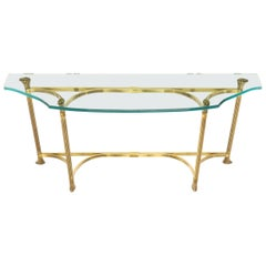 Bent Brass Base Curved Glass Top Figural Console Sofa Table