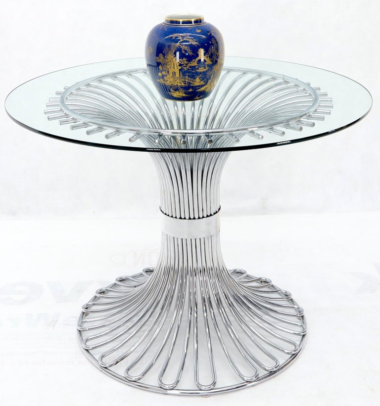 Bent Chrome Tube Pedestal Base Glass Top Dining Table For Sale 4