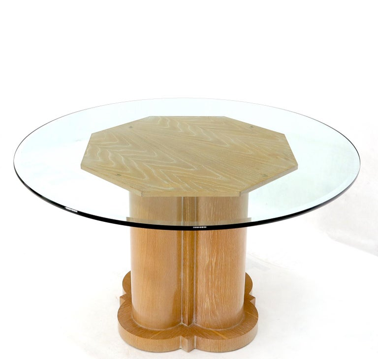 Bent Chrome Tube Pedestal Base Glass Top Dining Table For Sale 6