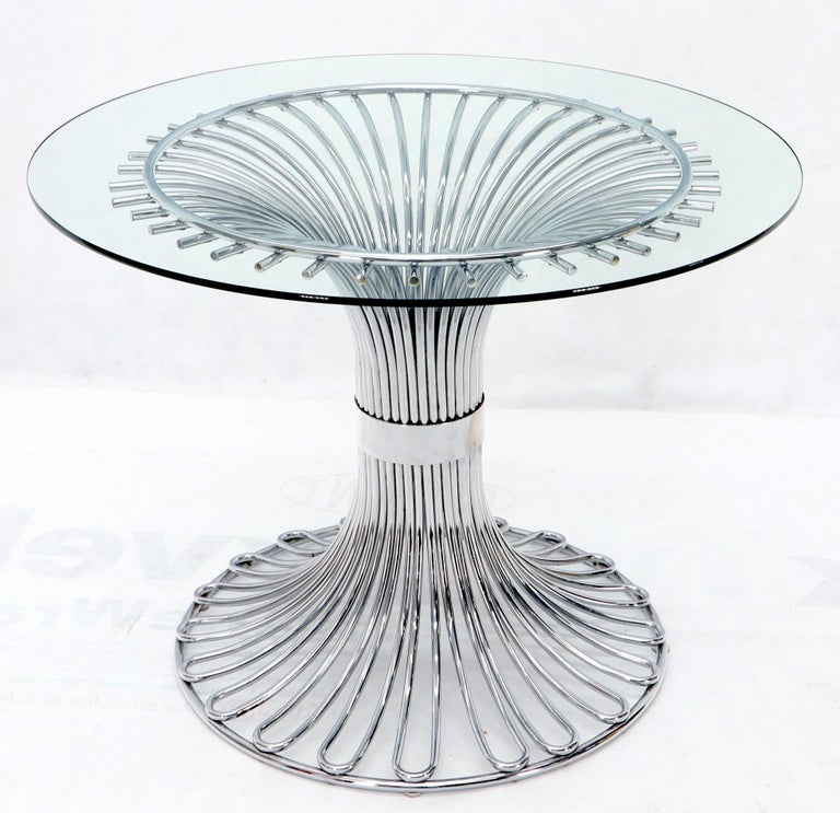 Mid-Century Modern Bent Chrome Tube Pedestal Base Glass Top Dining Table For Sale