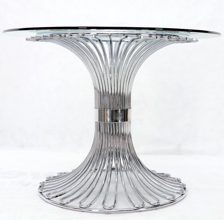 Italian Bent Chrome Tube Pedestal Base Glass Top Dining Table For Sale