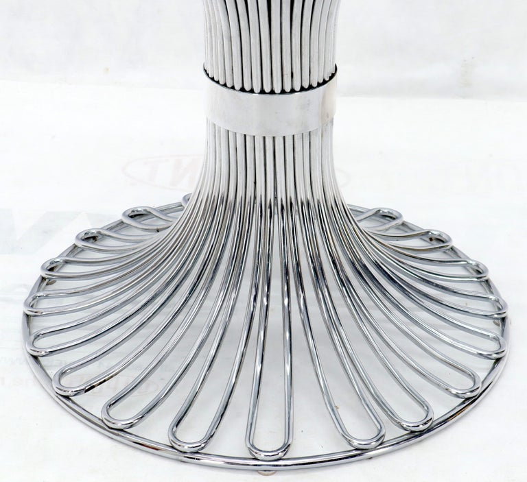 20th Century Bent Chrome Tube Pedestal Base Glass Top Dining Table For Sale