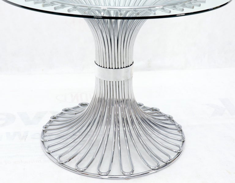 Bent Chrome Tube Pedestal Base Glass Top Dining Table For Sale 3