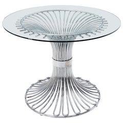 Bent Chrome Tube Pedestal Base Glass Top Dining Table