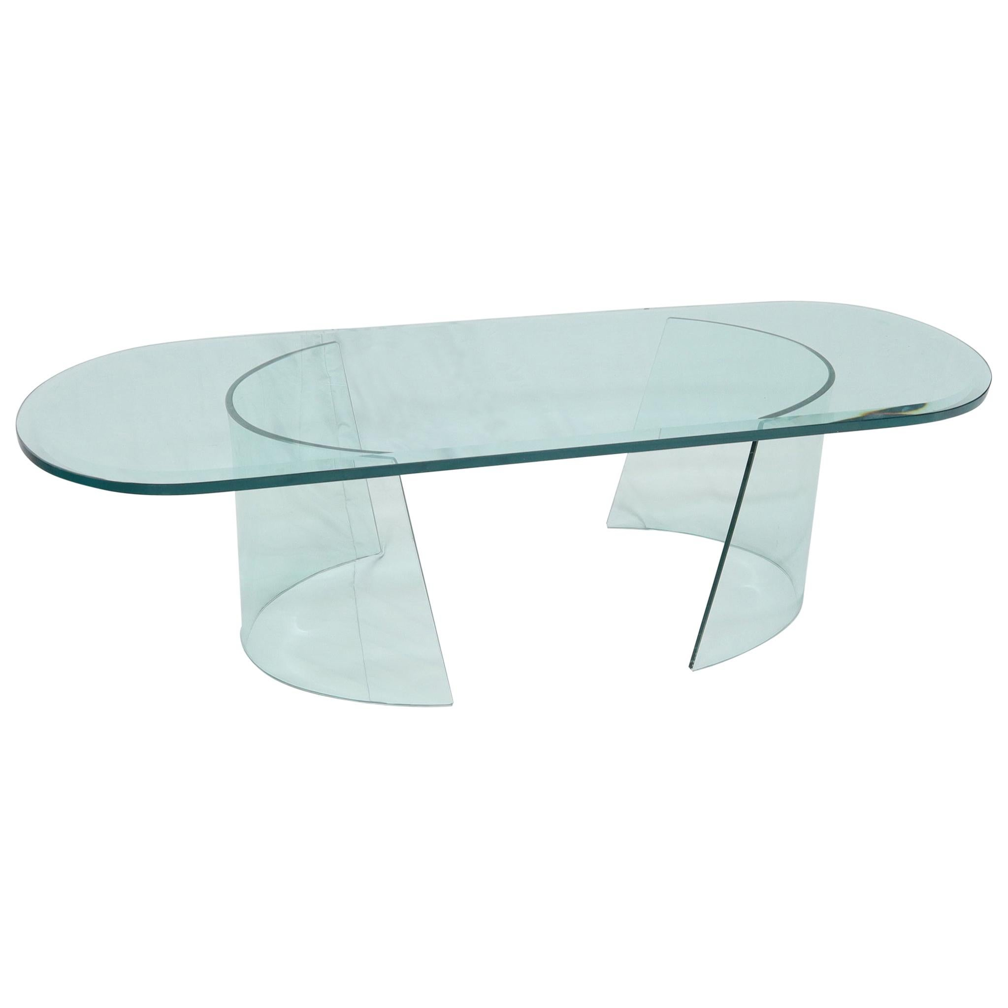 Bent Curved Glass C-Shape Base Oval Racetrack Top Coffee Table