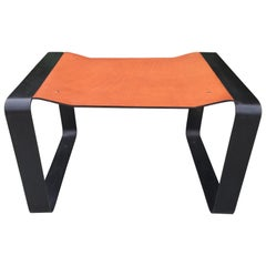 Bent Flat Iron Bench with Cognac Leather Seat
