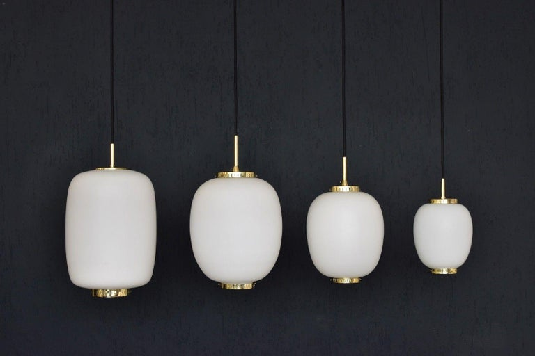 Bent Karlby Kina Pendant Brass and Opaline Ceiling Fixtures by Lyfa, Denmark For Sale 3