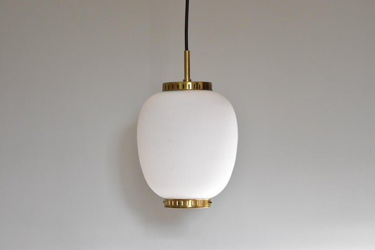 Bent Karlby Kina Pendant Brass and Opaline Ceiling Fixtures by Lyfa Denmark For Sale 5