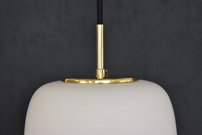 Scandinavian Modern Bent Karlby Kina Pendant Brass and Opaline Ceiling Fixtures by Lyfa, Denmark For Sale