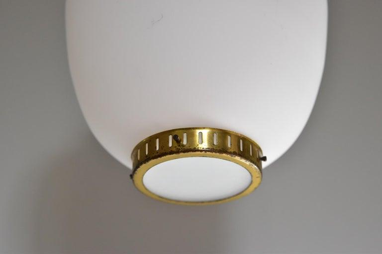 Scandinavian Modern Bent Karlby Kina Pendant Brass and Opaline Ceiling Fixtures by Lyfa Denmark For Sale