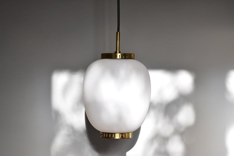 Danish Bent Karlby Kina Pendant Brass and Opaline Ceiling Fixtures by Lyfa Denmark For Sale