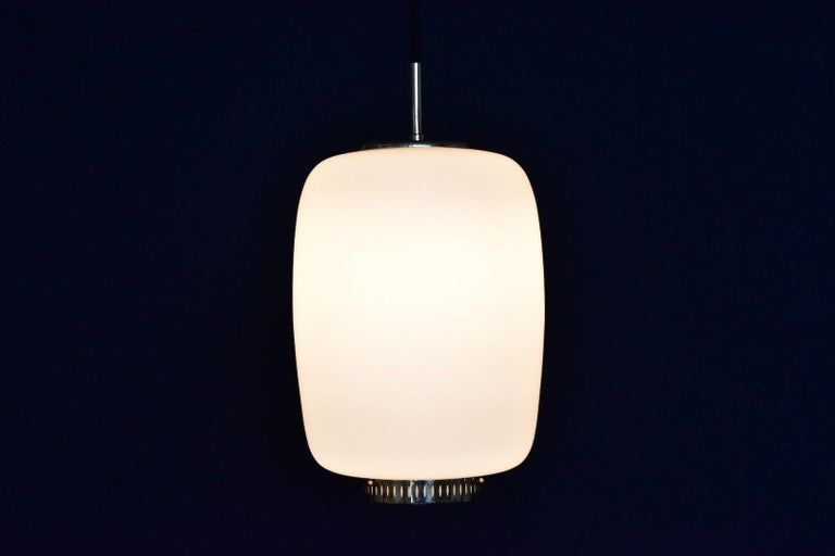 Bent Karlby Kina Pendant Brass and Opaline Ceiling Fixtures by Lyfa, Denmark In Good Condition For Sale In Krefeld, DE