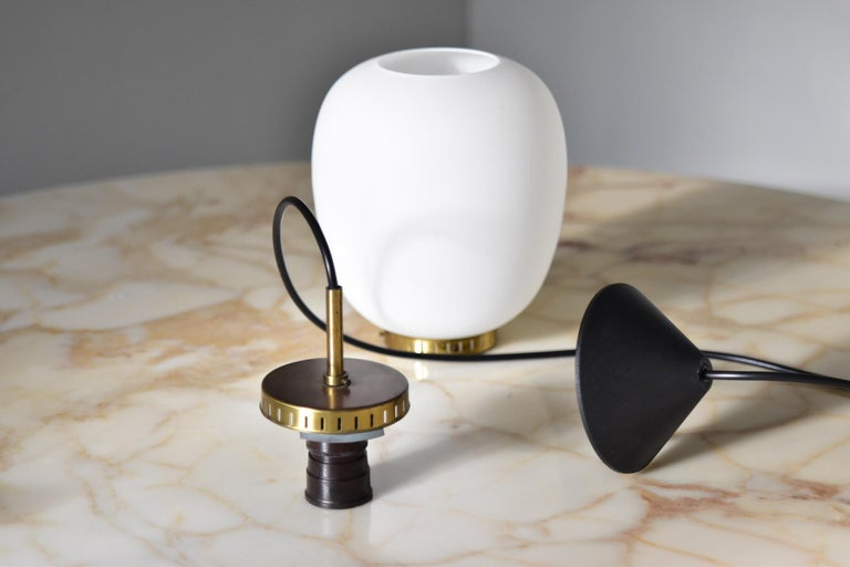 Bent Karlby Kina Pendant Brass and Opaline Ceiling Fixtures by Lyfa Denmark In Good Condition For Sale In Krefeld, DE