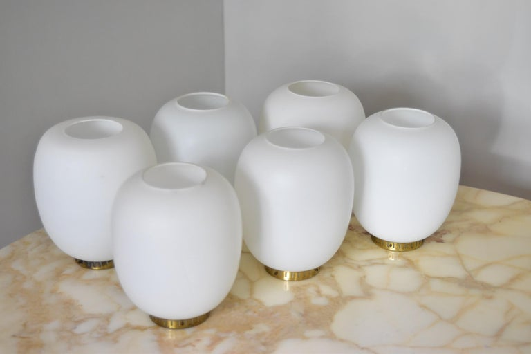 Mid-20th Century Bent Karlby Kina Pendant Brass and Opaline Ceiling Fixtures by Lyfa Denmark For Sale