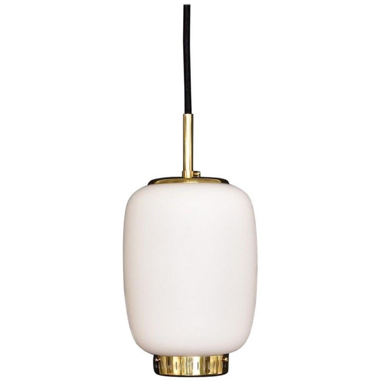 Bent Karlby Kina Pendant Brass and Opaline Ceiling Fixtures by Lyfa Denmark For Sale