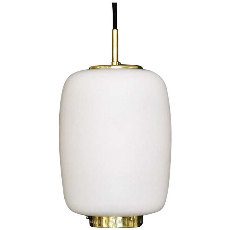 Bent Karlby Kina Pendant Brass and Opaline Ceiling Fixtures by Lyfa, Denmark For Sale