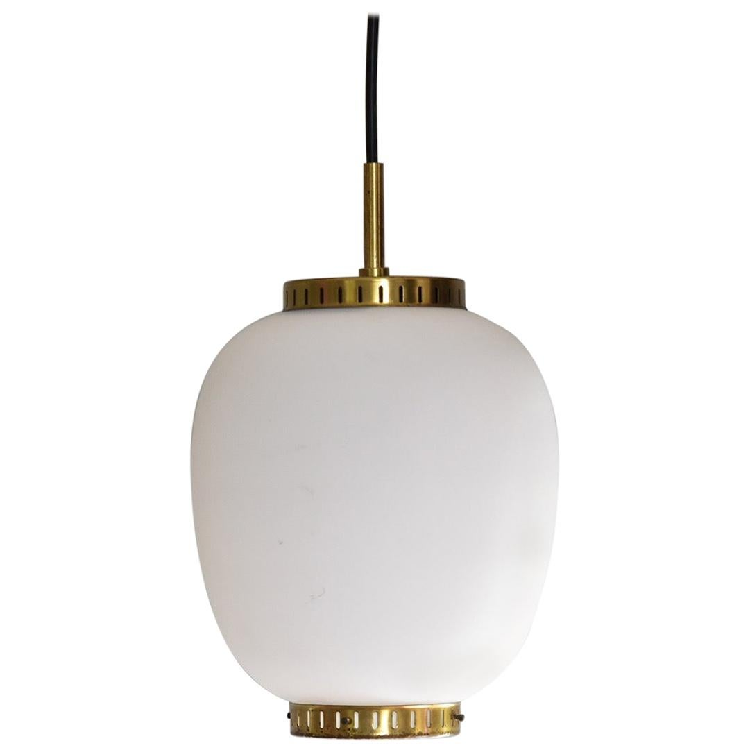 Bent Karlby Kina Pendant Brass and Opaline Ceiling Fixtures by Lyfa Denmark