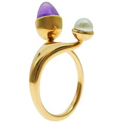 Bent Knudsen Amethyst, Pearl and Gold Ring, circa 1970s